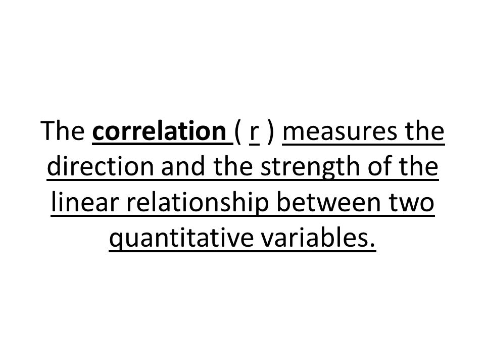 The correlation ( r ) measures the direction and the strength of the linear relationship between two quantitative variables.