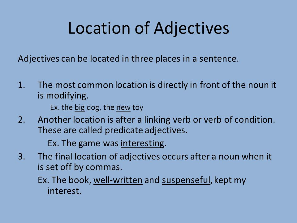 Location of Adjectives