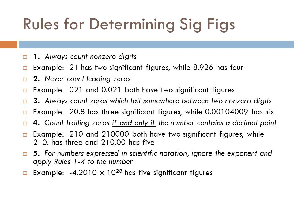 Rules for Determining Sig Figs