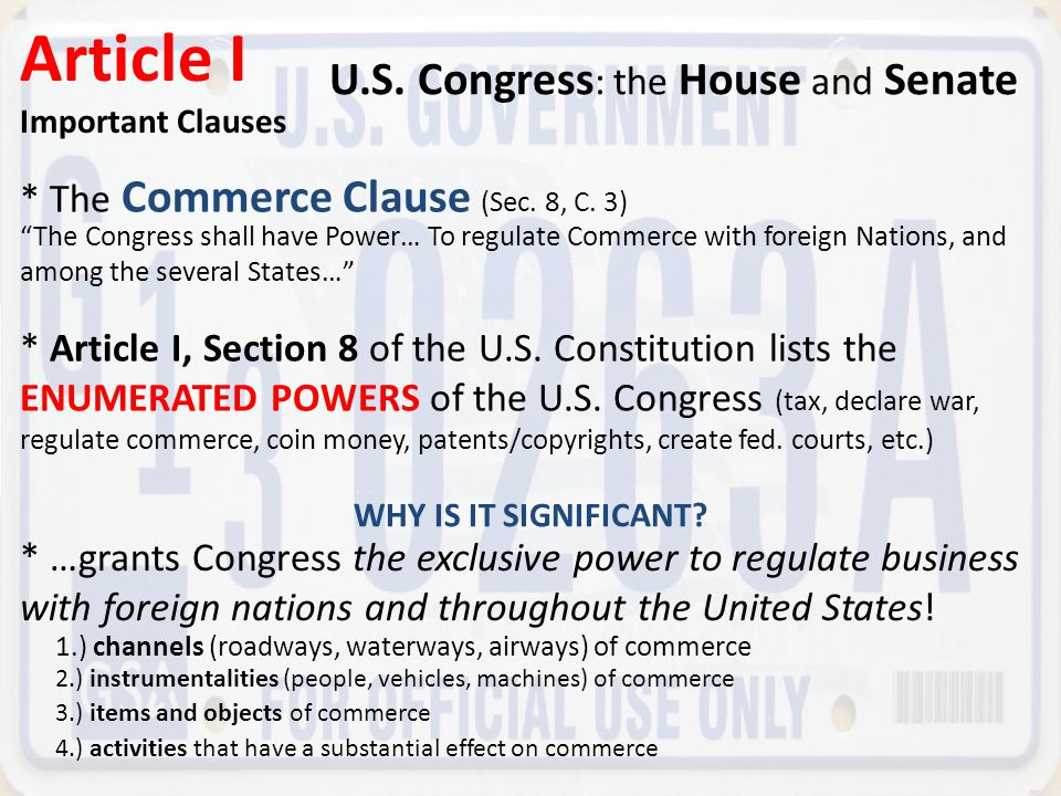 Article I U.S. Congress: the House and Senate
