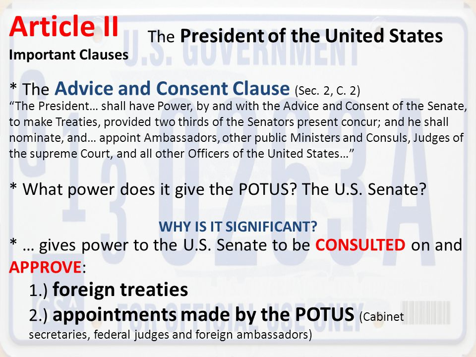 Article II The President of the United States
