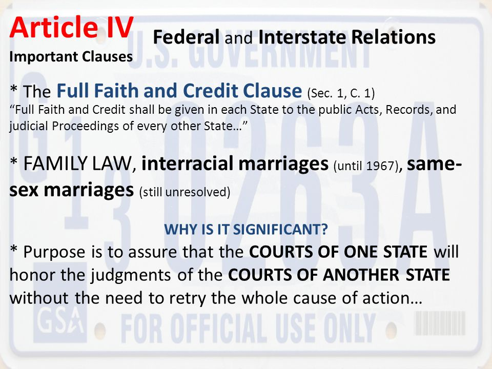 Article IV Federal and Interstate Relations