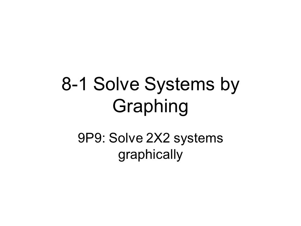 8-1 Solve Systems by Graphing