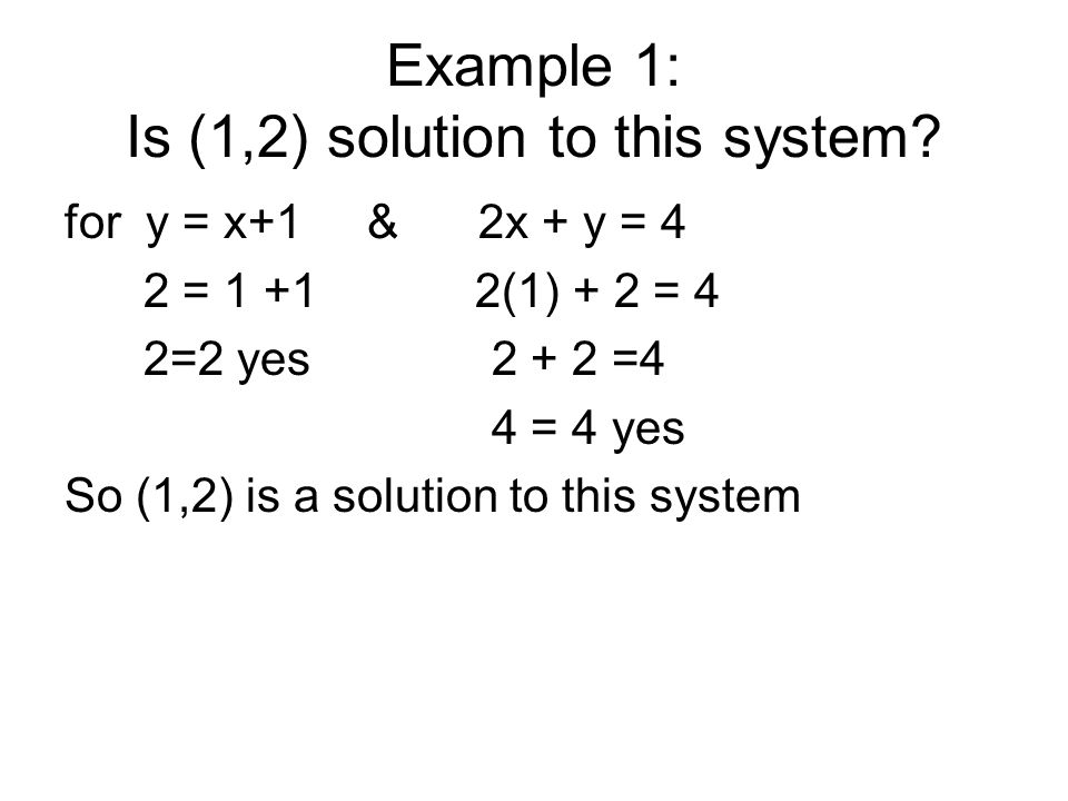 Example 1: Is (1,2) solution to this system