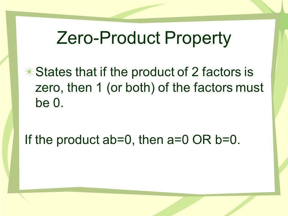 Zero-Product Property