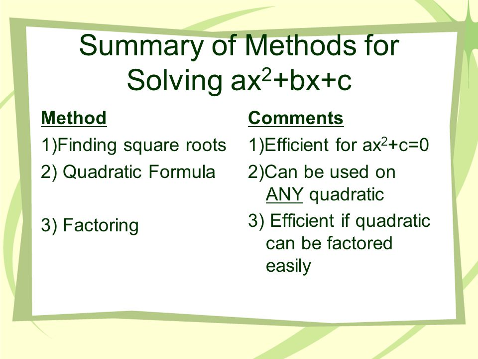 Summary of Methods for Solving ax2+bx+c