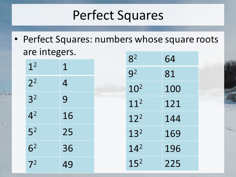 Perfect Squares Perfect Squares: numbers whose square roots are integers. 82. 64. 92. 81. 102.