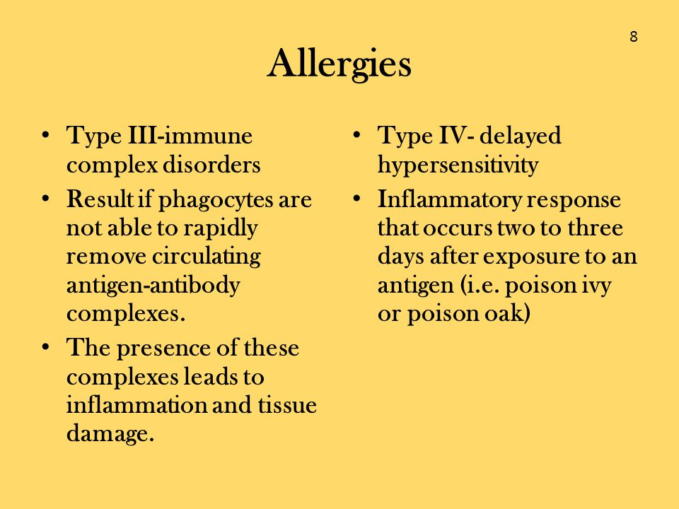 Allergies Type III-immune complex disorders