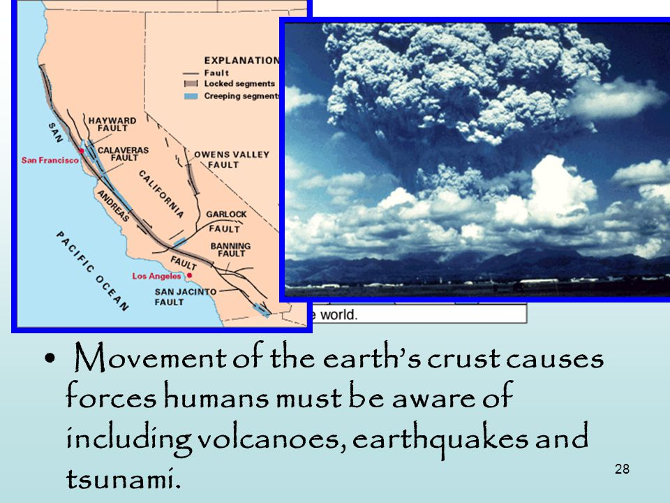 Tectonic Plates Movement of the earth's crust causes forces humans must be aware of including volcanoes, earthquakes and tsunami.