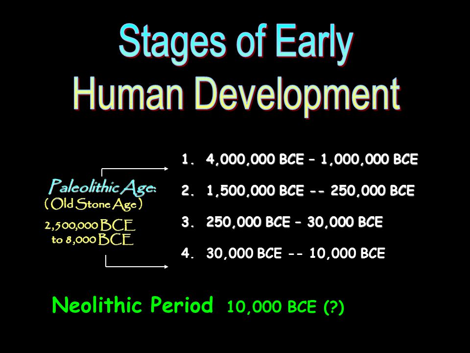 Stages of Early Human Development Neolithic Period 10,000 BCE ( )