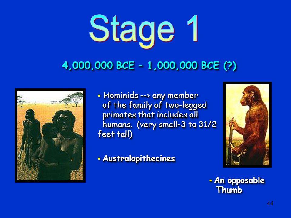 Stage 1 4,000,000 BCE – 1,000,000 BCE ( )