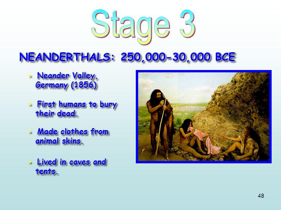 Stage 3 NEANDERTHALS: 250,000-30,000 BCE