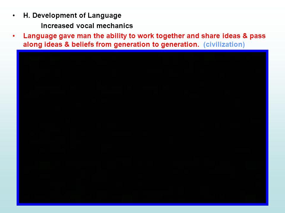 H. Development of Language
