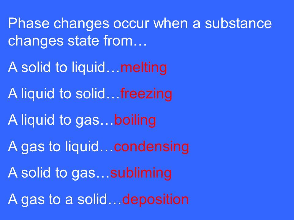 Phase changes occur when a substance changes state from…