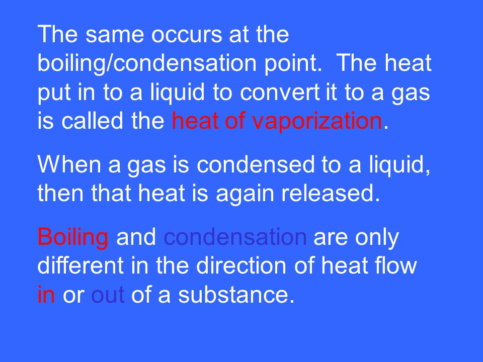 The same occurs at the boiling/condensation point
