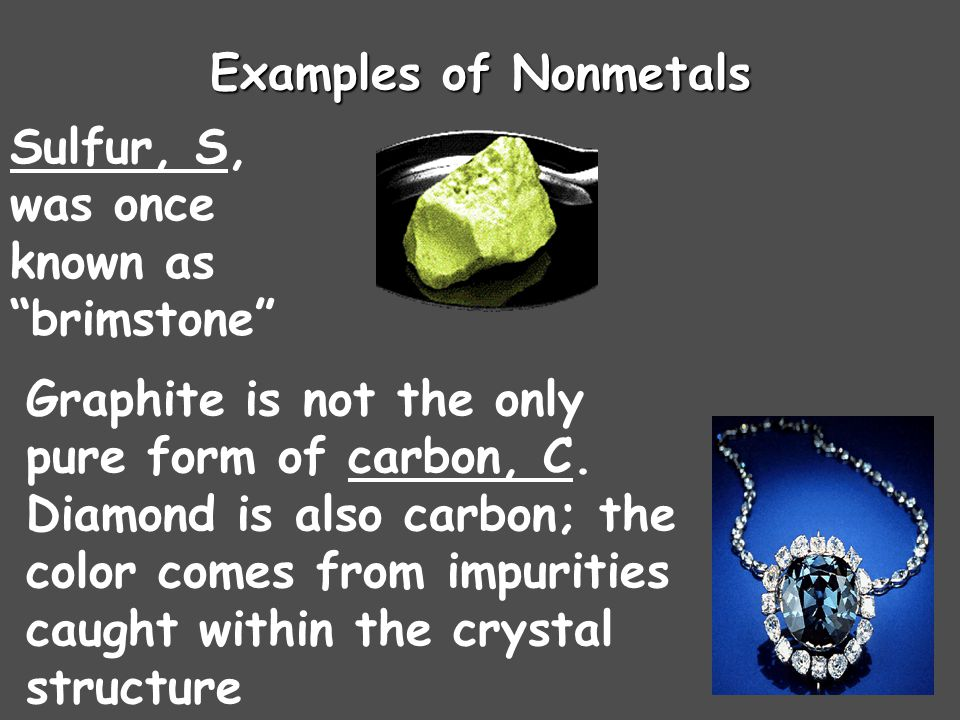 Examples of Nonmetals Sulfur, S, was once known as brimstone