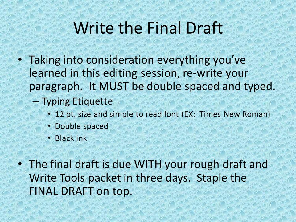 Write the Final Draft
