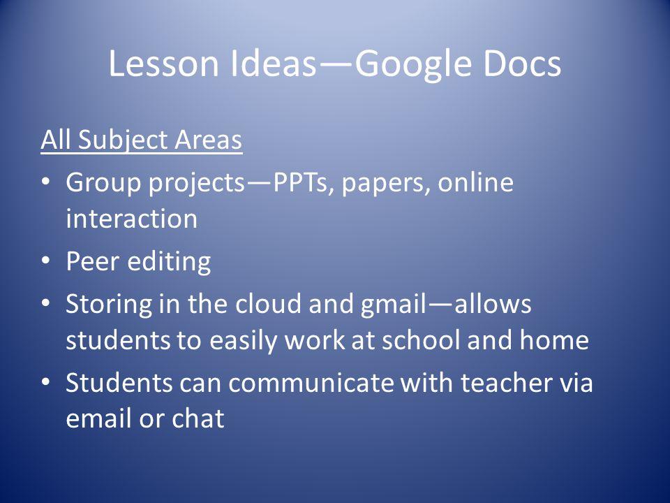 Lesson Ideas—Google Docs