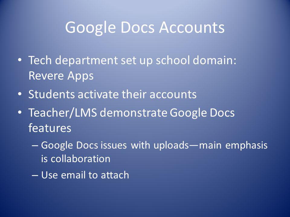 Google Docs Accounts Tech department set up school domain: Revere Apps