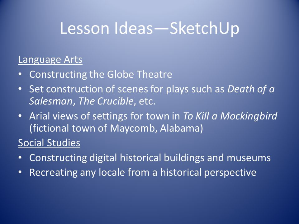 Lesson Ideas—SketchUp