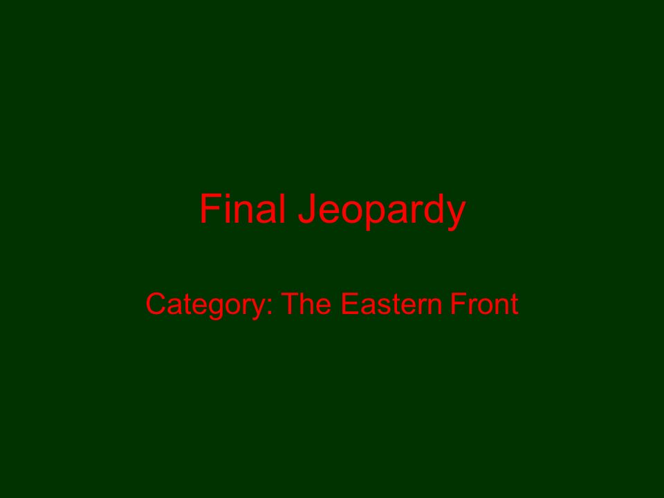 Category: The Eastern Front