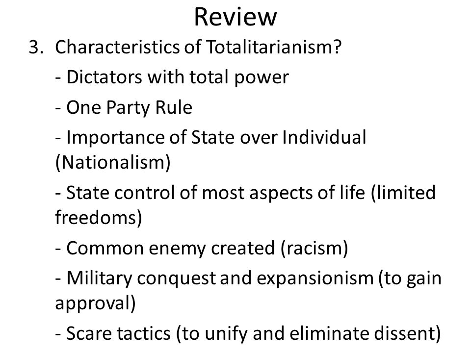 Review Characteristics of Totalitarianism