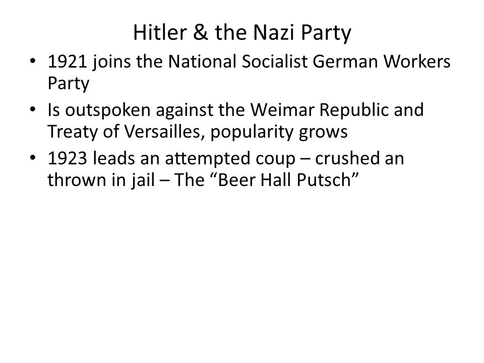 Hitler & the Nazi Party 1921 joins the National Socialist German Workers Party.