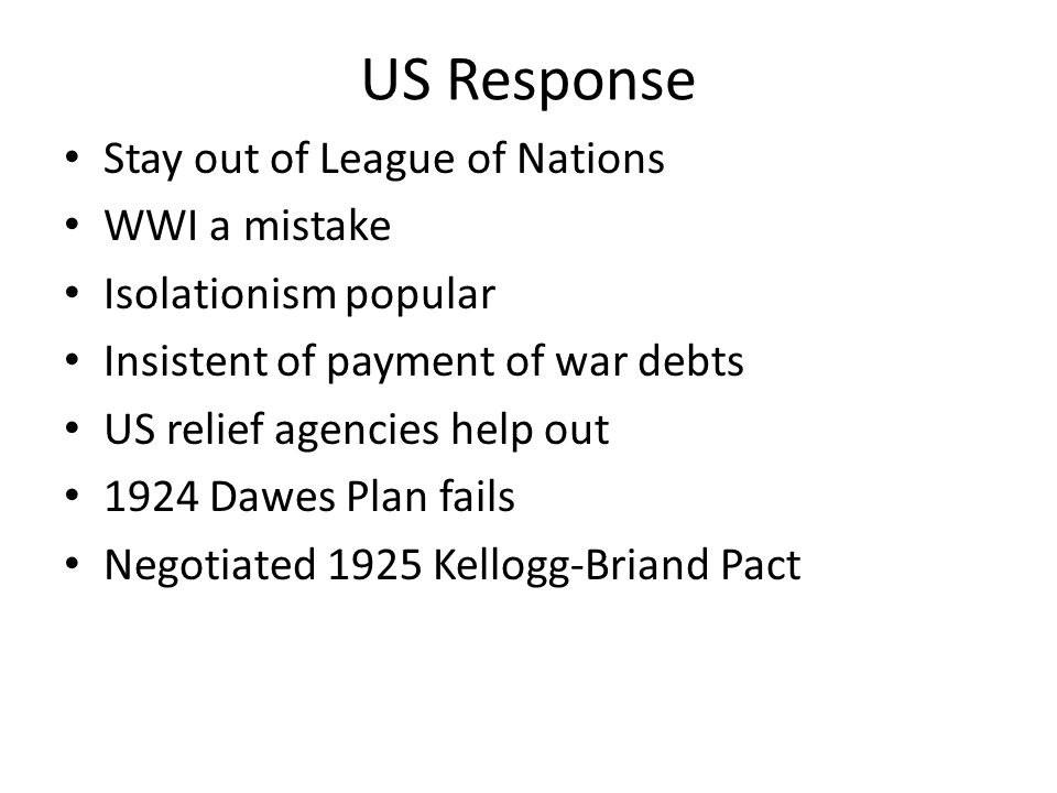 US Response Stay out of League of Nations WWI a mistake