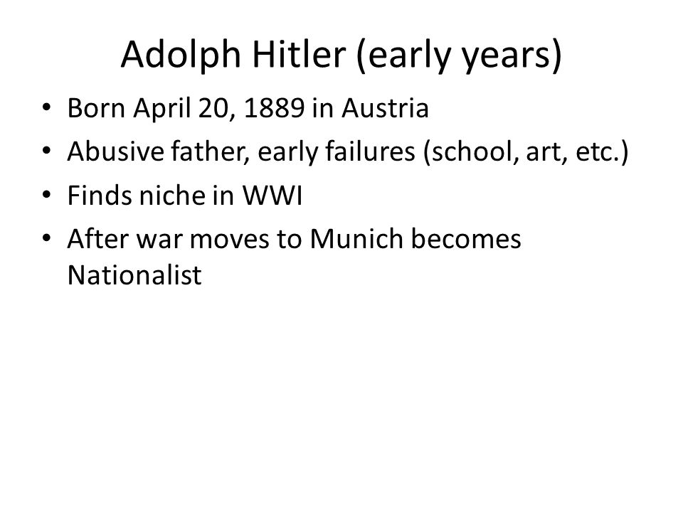 Adolph Hitler (early years)
