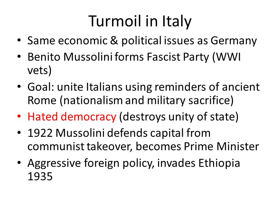 Turmoil in Italy Same economic & political issues as Germany