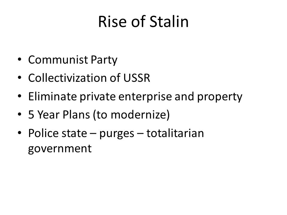 Rise of Stalin Communist Party Collectivization of USSR