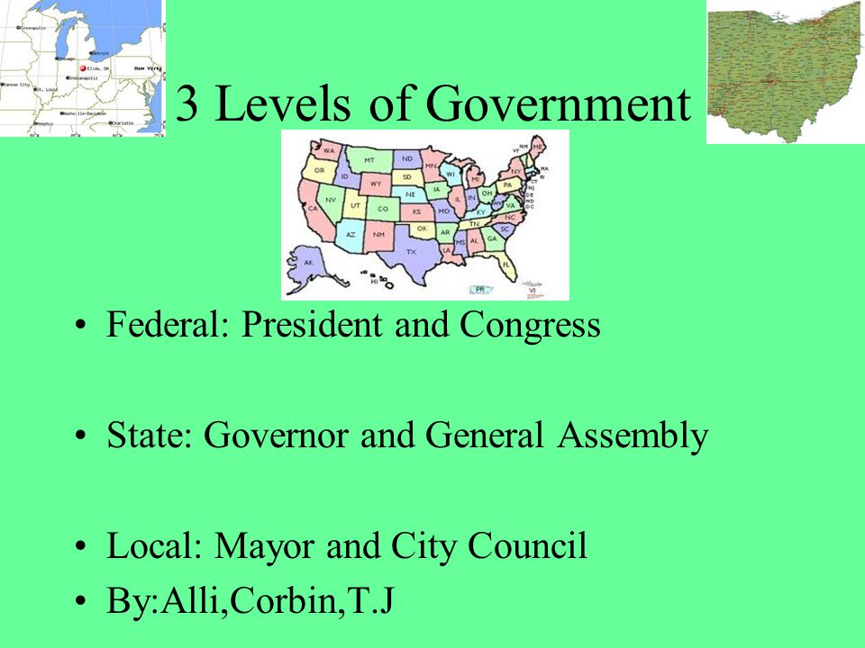 3 Levels of Government Federal: President and Congress