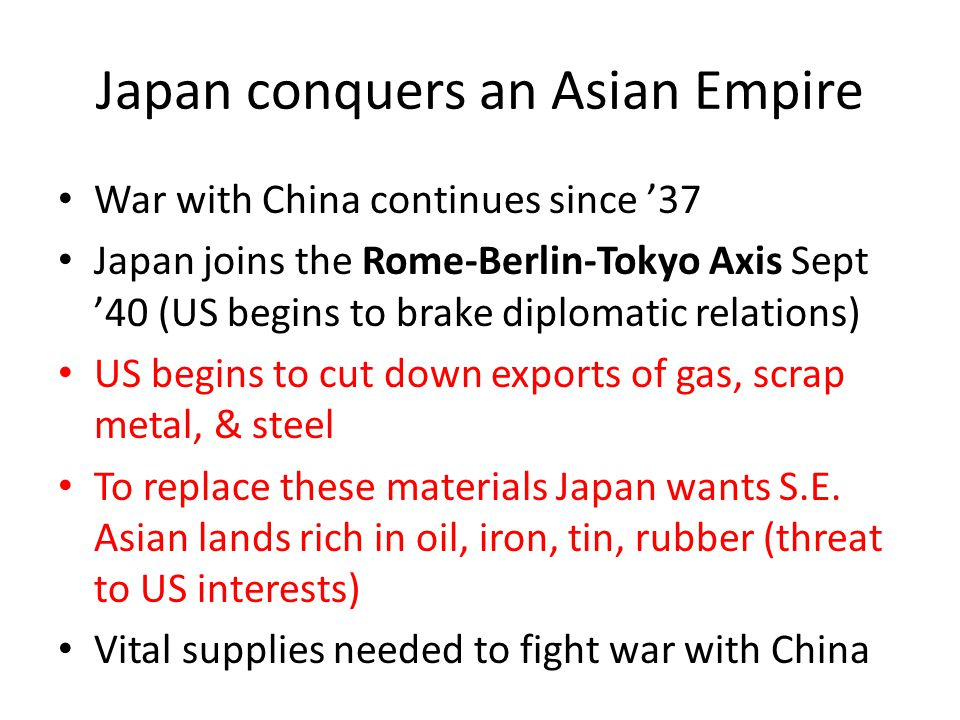 Japan conquers an Asian Empire