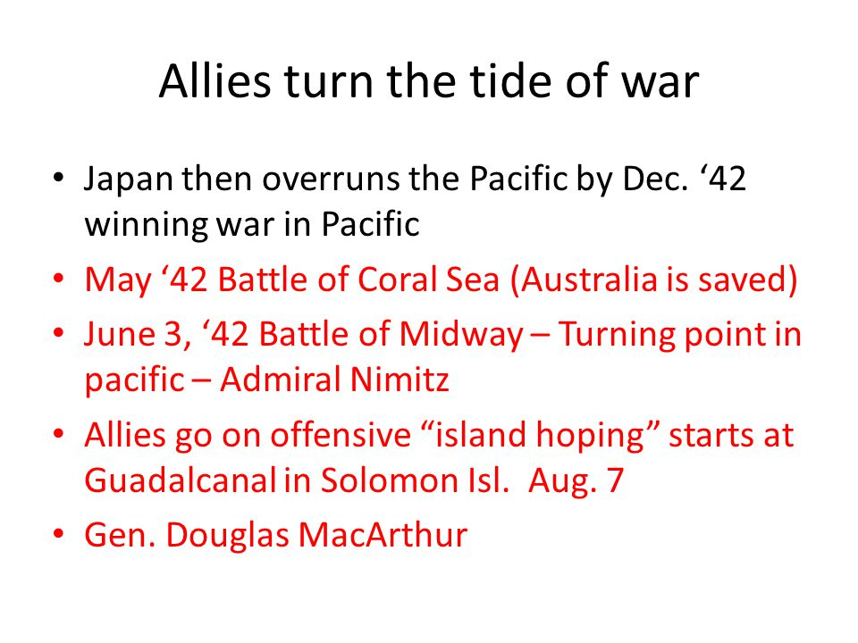 Allies turn the tide of war