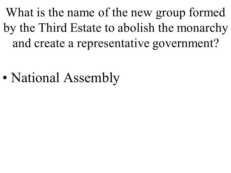 What is the name of the new group formed by the Third Estate to abolish the monarchy and create a representative government