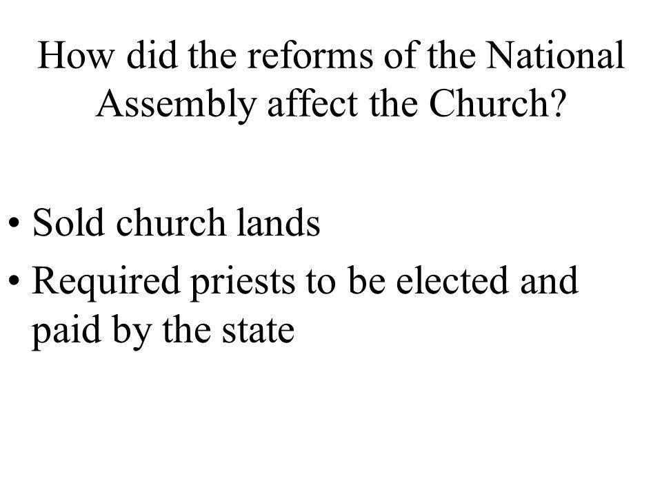 How did the reforms of the National Assembly affect the Church