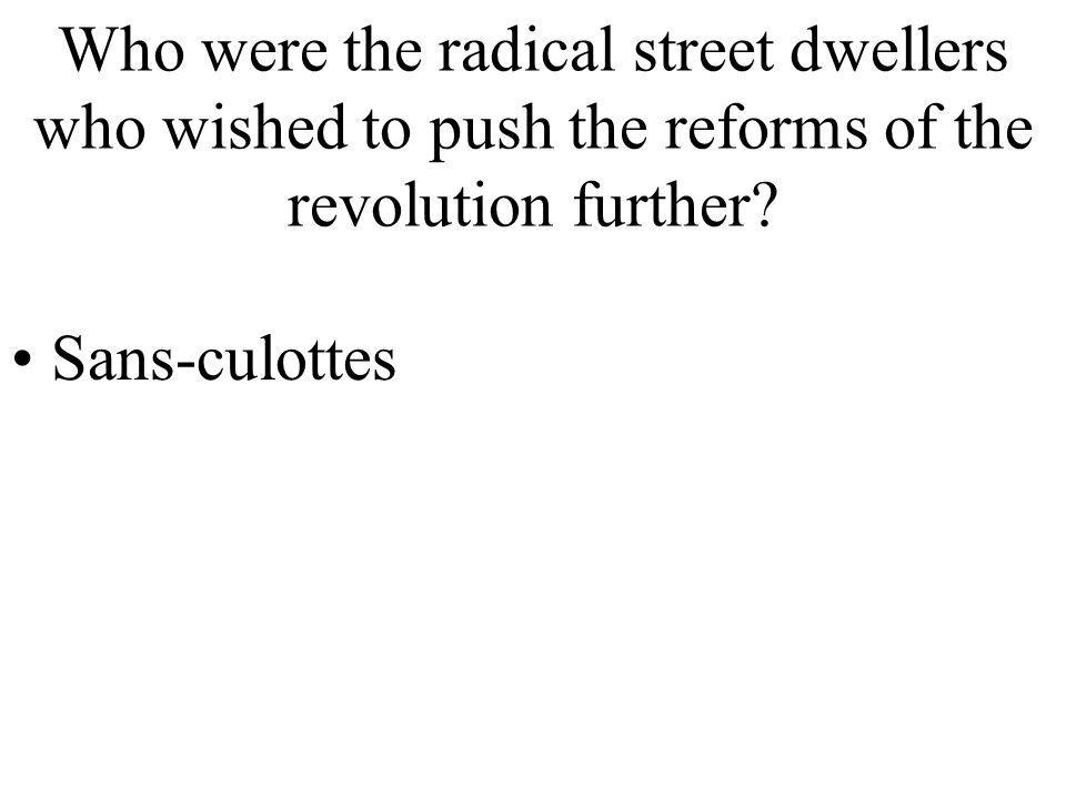 Who were the radical street dwellers who wished to push the reforms of the revolution further