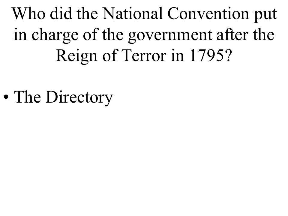 Who did the National Convention put in charge of the government after the Reign of Terror in 1795