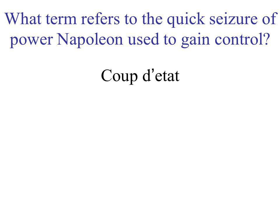 What term refers to the quick seizure of power Napoleon used to gain control