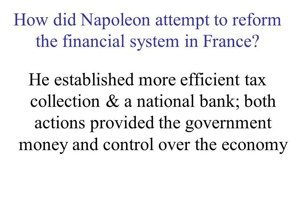 How did Napoleon attempt to reform the financial system in France