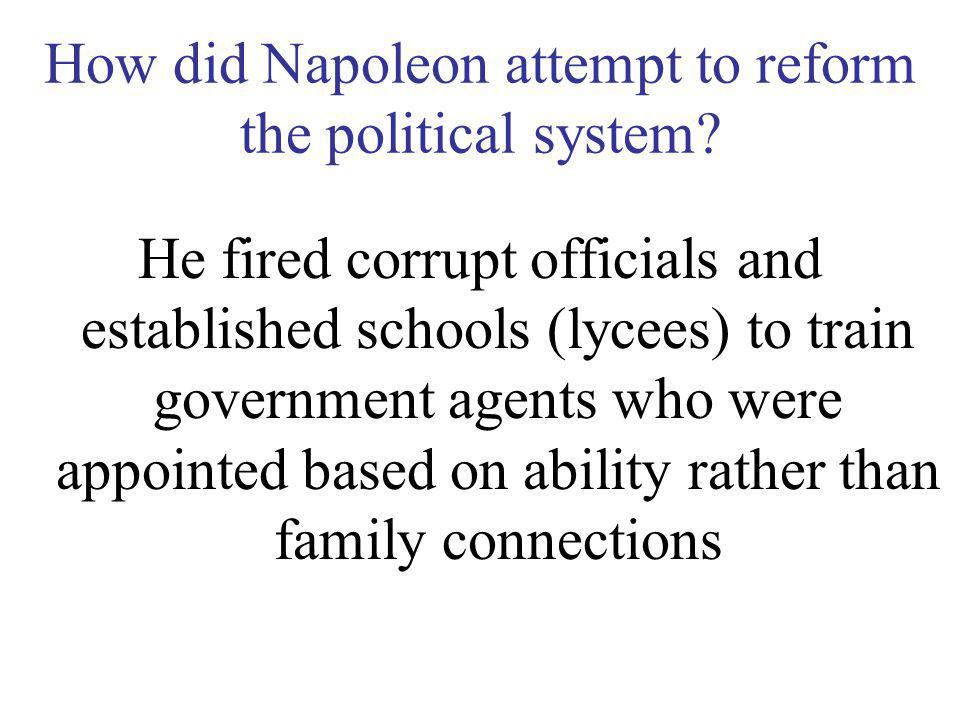 How did Napoleon attempt to reform the political system