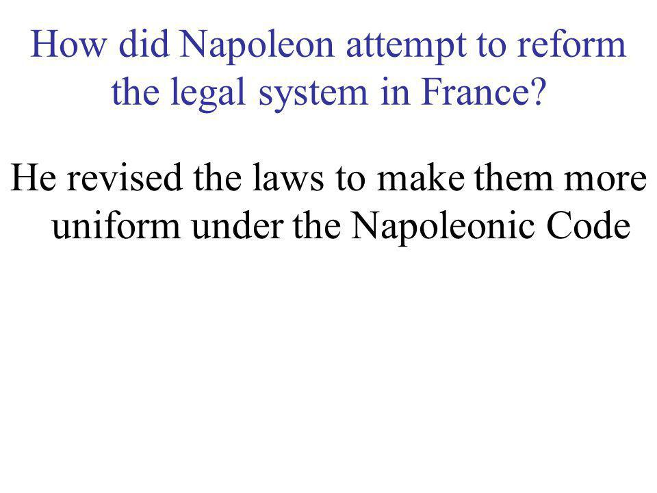 How did Napoleon attempt to reform the legal system in France