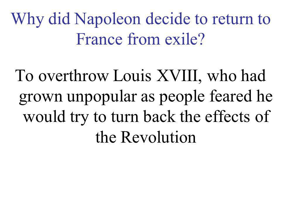 Why did Napoleon decide to return to France from exile