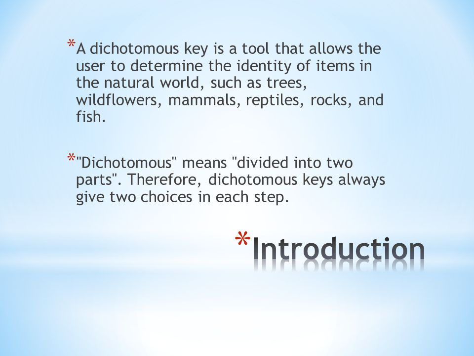 A dichotomous key is a tool that allows the user to determine the identity of items in the natural world, such as trees, wildflowers, mammals, reptiles, rocks, and fish.