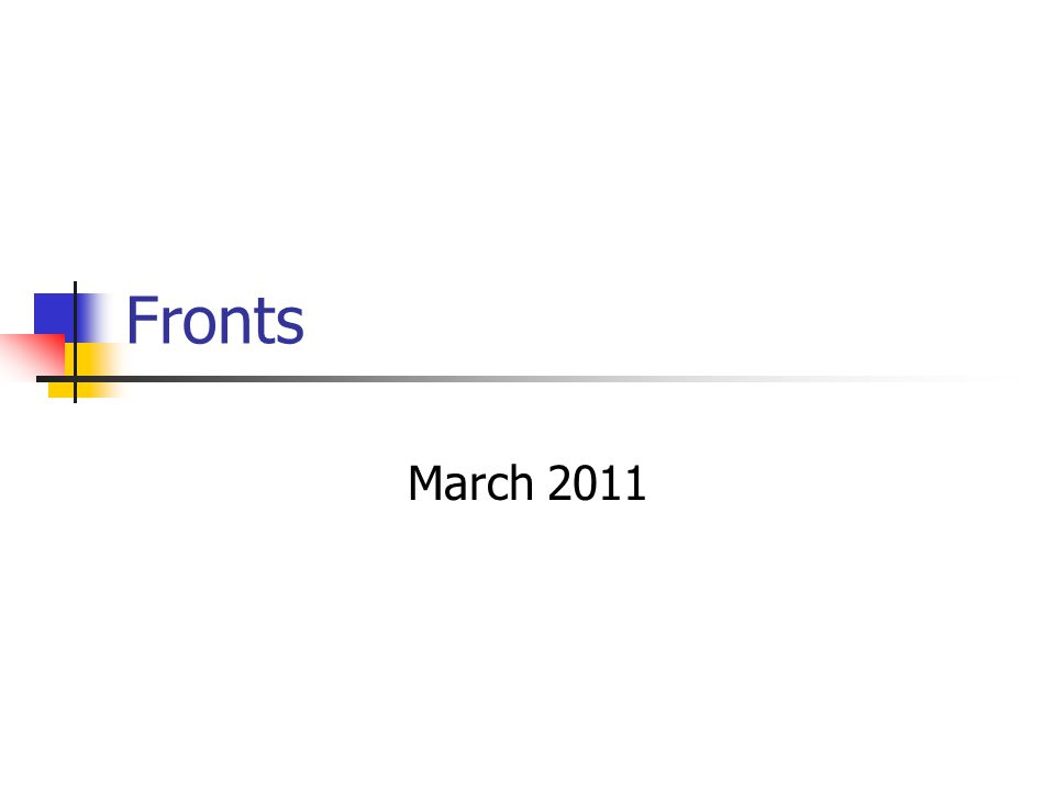 Fronts March 2011