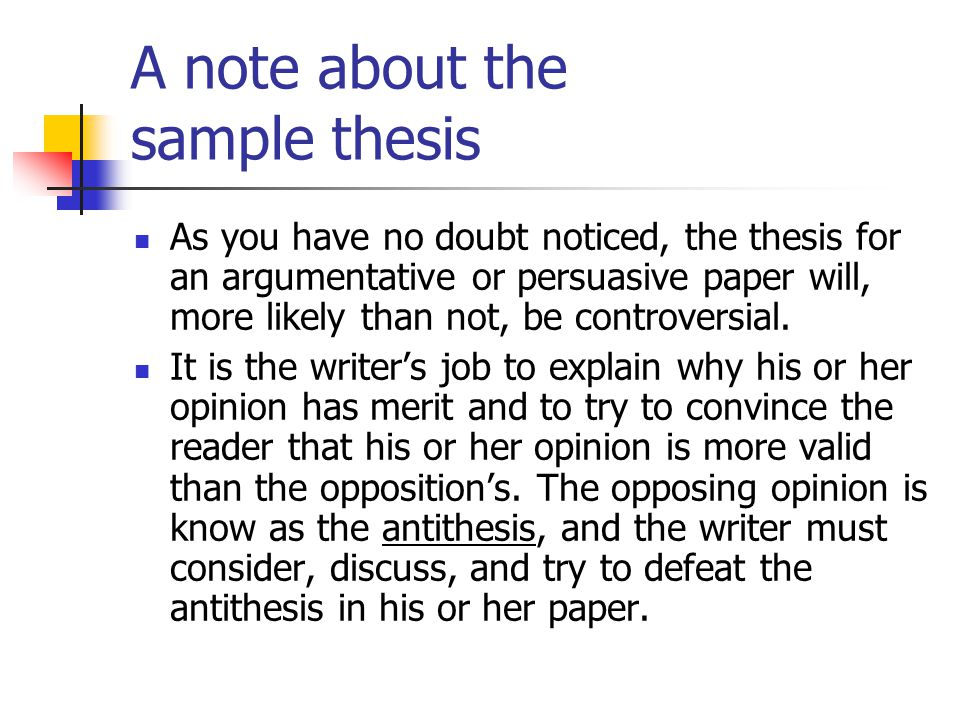 A note about the sample thesis
