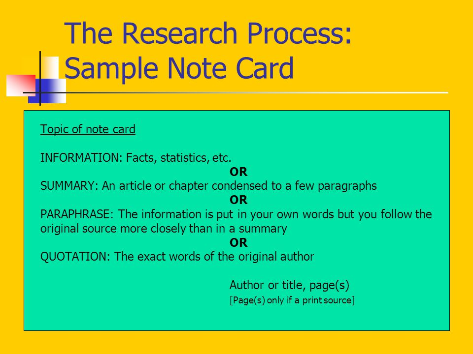 The Research Process: Sample Note Card