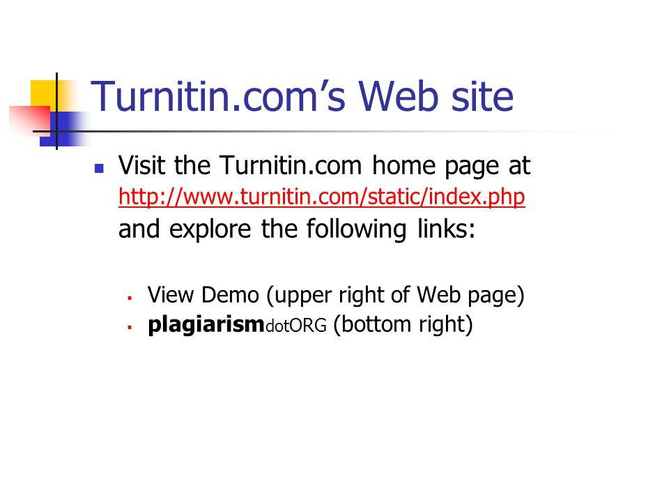 Turnitin.com's Web site