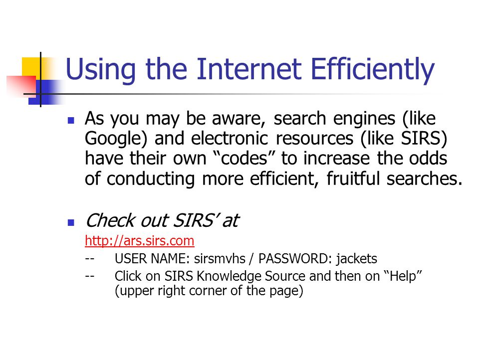Using the Internet Efficiently
