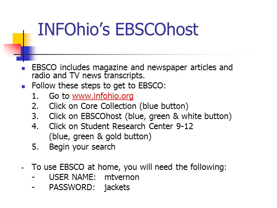 INFOhio's EBSCOhost EBSCO includes magazine and newspaper articles and radio and TV news transcripts.